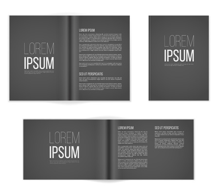 a6: Paper pageg a4  format dark templates. Vector illustration Illustration