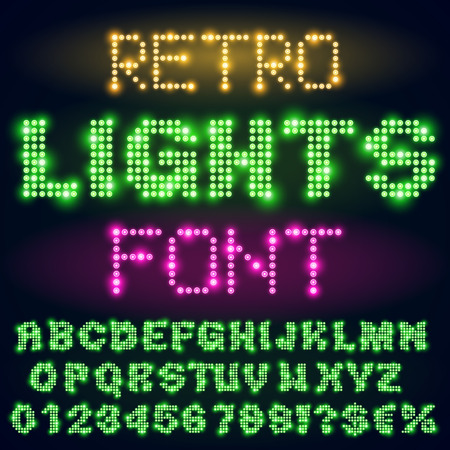 city lights: Night city lights lamp neon sign style bold green font. Vector alphabet
