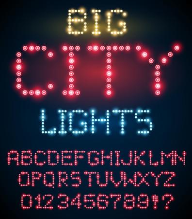 semaforo rosso: Lighting signs alphabet, letter set from red  light bulbs. Vector font