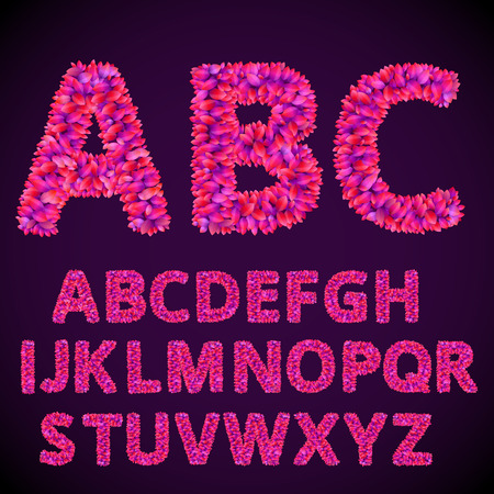 violet red: Font from abstract Purple Violet Red Leaves. Vector alphabet