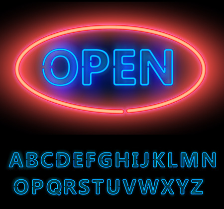 open type font: Blue Neon Double Stroke Alphabet Set for Signs. Realistic vector font set