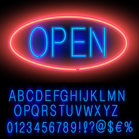 open type font: Blue Neon Alphabet Set for Signs. Realistic vector font set
