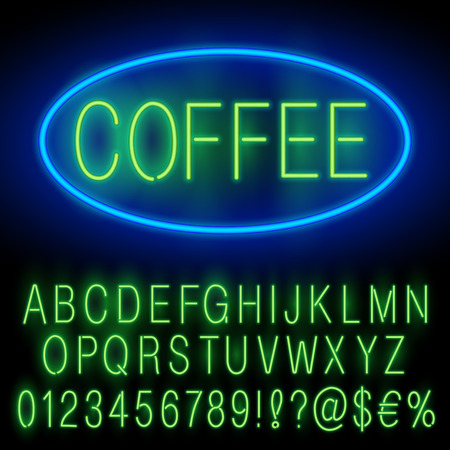 open type font: Green Neon Alphabet Set for Signs. Realistic vector font set