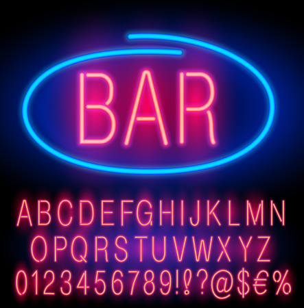 open type font: Red  Neon Alphabet Set for Signs. Realistic vector font set Illustration