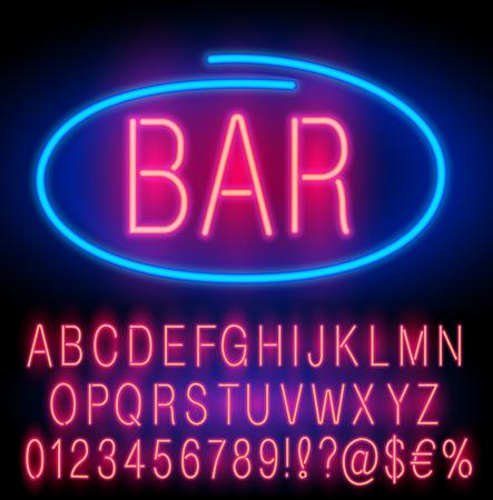 Red  Neon Alphabet Set for Signs. Realistic vector font set Illustration