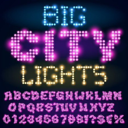 Night city lights lamp neon sign style bold violet font. Vector alphabet