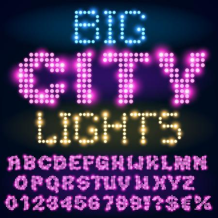 Night city lights lamp neon sign style bold violet font. Vector alphabet