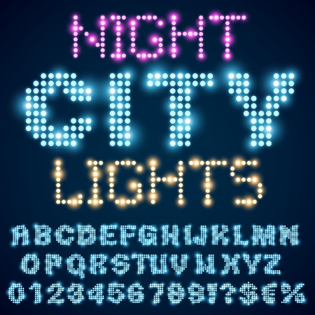 neon light: Night city lights lamp neon sign style bold blue font. Vector alphabet