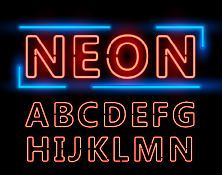 Red Neon Double Stroke Alphabet Set for Signs. Realistic vector font set first half