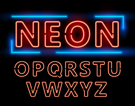open type font: Red Neon Double Stroke Alphabet Set for Signs. Realistic vector font set second half