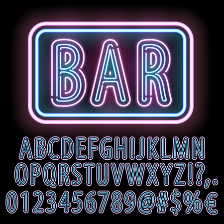 fluorescent: Blue-Pink Neon Double Stroke Alphabet Set for Signs. Realistic vector font set