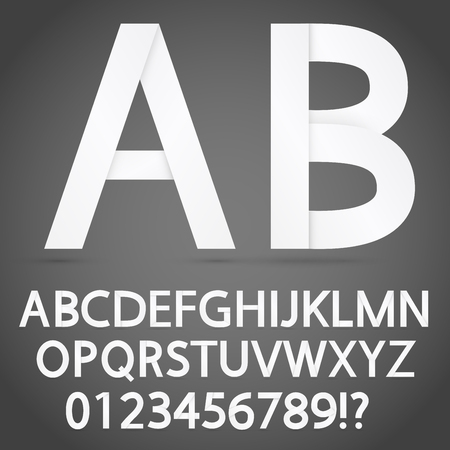 pealing: Cutted from paper white letters. Vector alphabet font