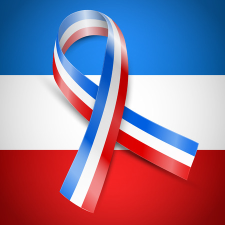 dolor: Vector ribbon flag of France, above country national flag background