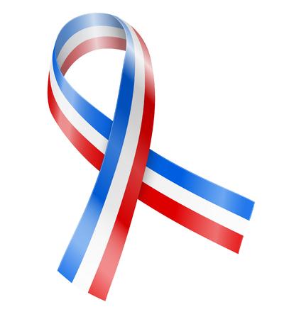 assassination: Vector ribbon flag of France, awareness, memory or other sign Illustration