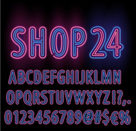 Blue Red Neon Light Double Stroke Alphabet Set for Signs. Realistic vector font set Illustration