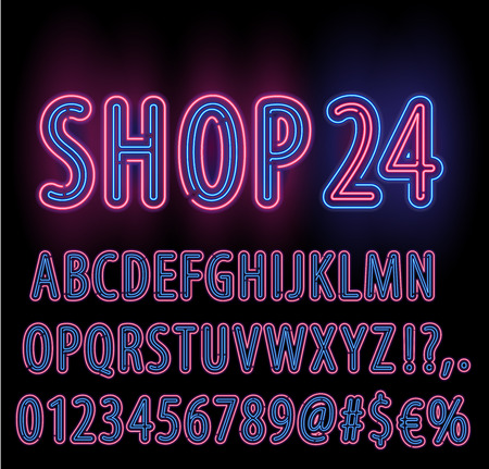 open type font: Blue Red Neon Light Double Stroke Alphabet Set for Signs. Realistic vector font set Illustration