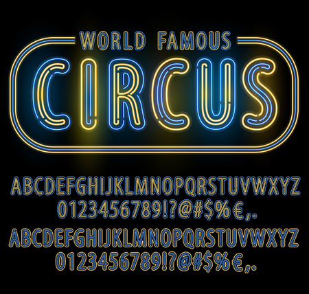 open type font: Blue Yellow Circus style Neon Light Double Stroke Alphabet Set for Signs. Realistic vector font set Illustration