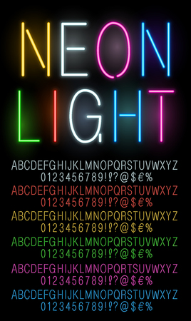 illuminated: Neon fast working different colors vector fonts set. Vector illustration