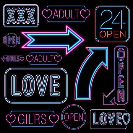 Set of neon light adult places like strip bars.  Vector illustration