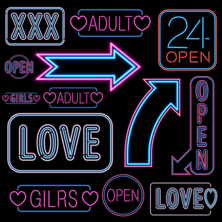 Set of neon light adult places like strip bars.  Vector illustration