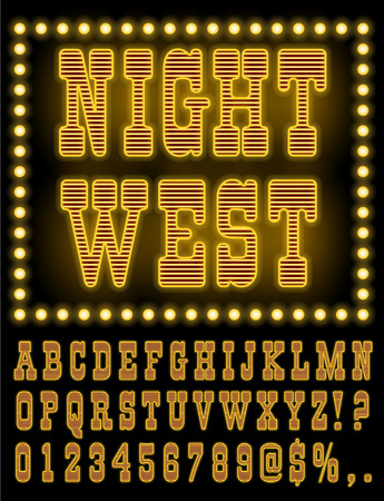 broadway show: Retro Wild West Saloon or Vegas Casino Style Night Font. Gold colored vector alphabet