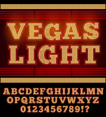 Vegas Casino or Retro Broadway Style Night Font. Gold and Red colored vector alphabet