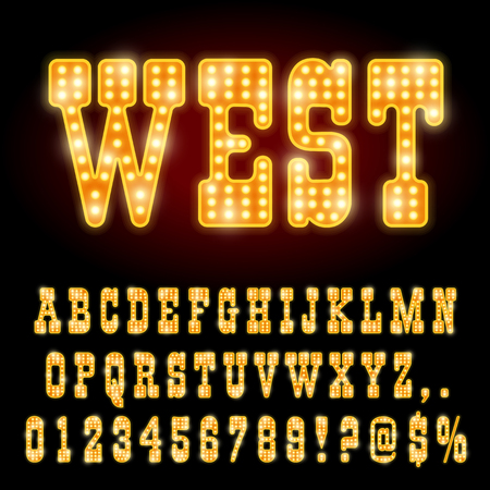 broadway show: Western Style Night Font. Gold colored vector alphabet