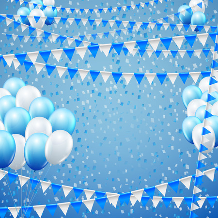 baner: Festive blue colored flags and baloon baner template, blue  background. vector illustration Illustration