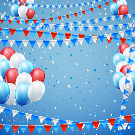 baner: Festive blue red and white colored flags and baloon baner template, blue  background. vector illustration