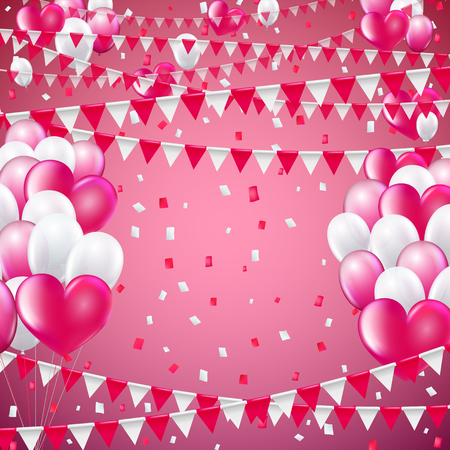 baner: Valentine pink colors flags and baloon baner template, blue  background. vector illustration Illustration