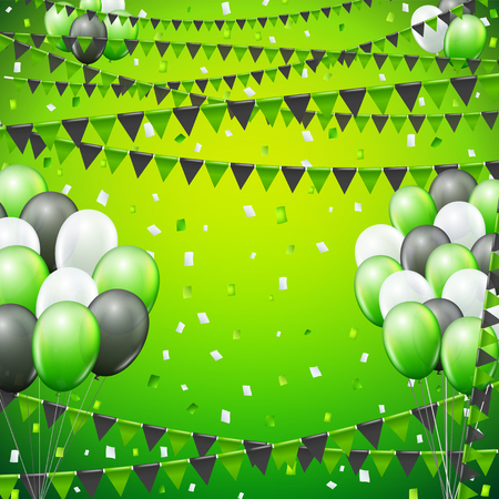 green banner: Festive green colored flags and balloon banner template  background