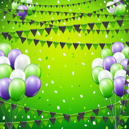 baloon: Festive green and violet colored flags and baloon banner template  background.