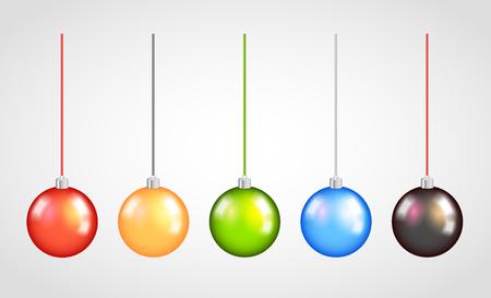 evening ball: Set of Bright Colorful Christmas Balls.