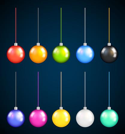 christmass: Set of Bright Colorful Christmas Balls on dark background. Illustration