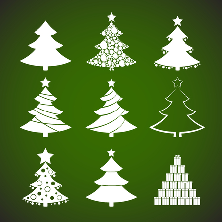 christmas gifts: Green christmas trees and gifts icon illustration set