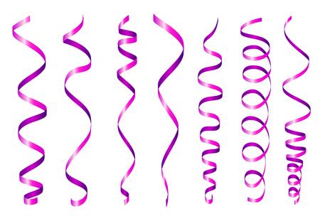 streamer: Violet Twirl Paper Streamer Set. illustration isolated on white background Illustration