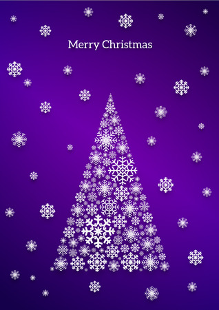 cutout: Christmas Tree violet  Poster  with Snowflakes made of cutout paper stars