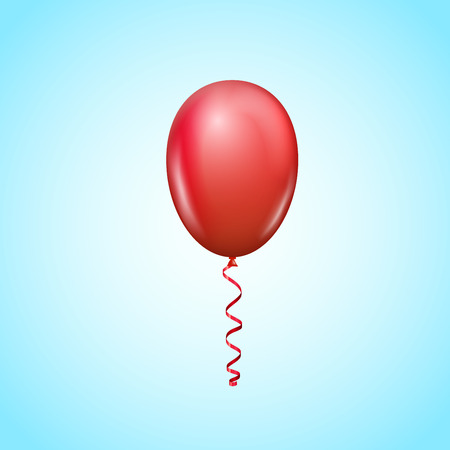 sky background: Vector red bright balloon floating on sky background