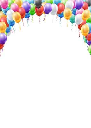 streamers: Colored balloons  header frame A4 proportions page template for  birthday or party invitation. Vector background Illustration