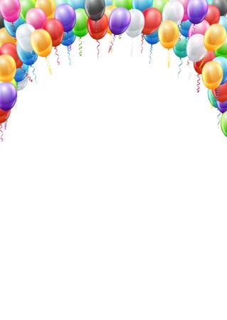 serpentinas: Globos de colores de cabecera plantilla de página A4 proporciones marco para el cumpleaños o del partido. fondo del vector
