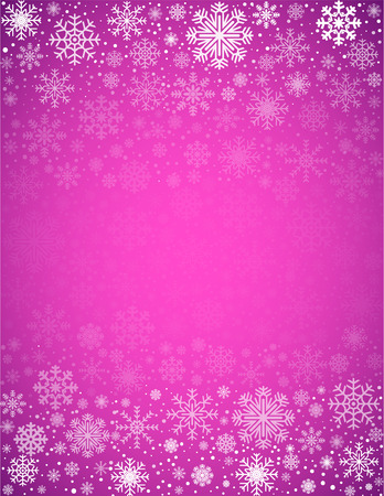snowflacke: Violet pink winter abstract vector background with snowflakes and place for text Illustration