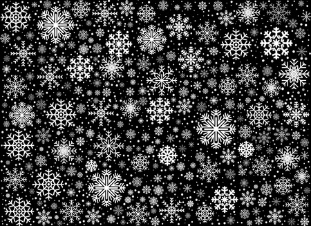 lustre: Black snow winter background with snowflakes, vector illustratio