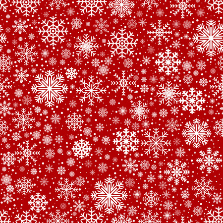 red snowflake background: Seamless Winter Vector Abstract Snowflake Background in Red Color