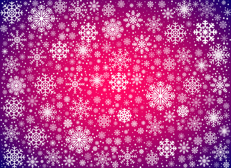violet: Pink Violet snow winter background with snowflakes, vector illustration