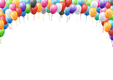 Colored balloons frame A4 proportions page template for birthday or party invitation. Vector background