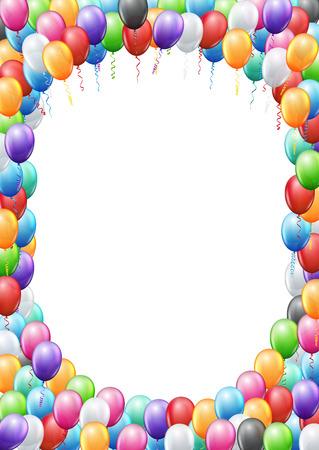 Ballons colorés encadrent A4 page proportions modèle pour l'anniversaire ou invitation de partie. vecteur de fond Banque d'images - 50339735