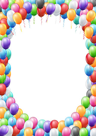 orange banner: Colored balloons  frame A4 proportions page template for  birthday or party invitation. Vector background Illustration