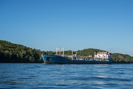volga: Old, barge cargo boat on river Volga, russia