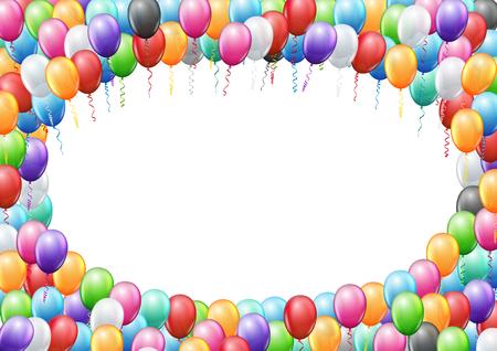 marco cumpleaños: Globos de colores enmarcan plantilla de página A4 proporciones para el cumpleaños o del partido. fondo del vector