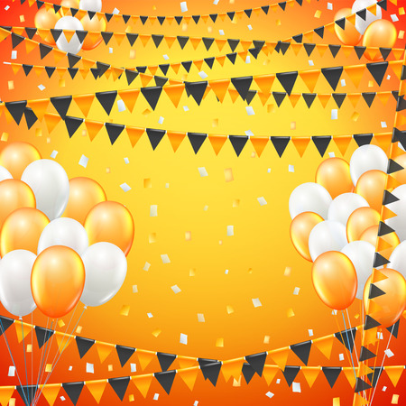 baner: Festive sunny yellow colored flags and baloon baner template, yellow  background. vector illustration Illustration